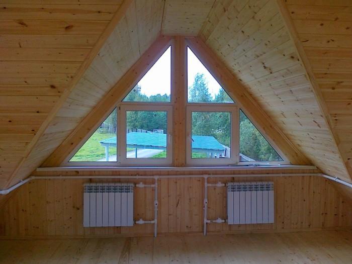 Окна - треугольники, треугольные окна для загородных домов