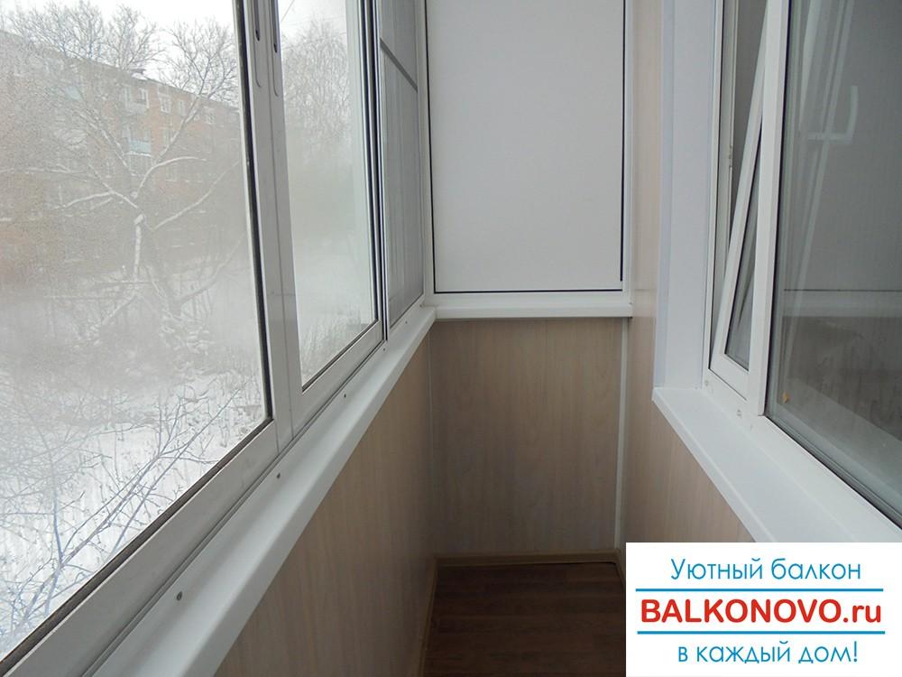 Алюминиевые раздвижные окна на балконе в Михнево, отделка балкона