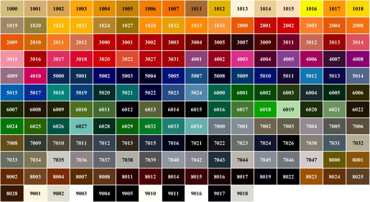 Цветные окна по таблице RAL