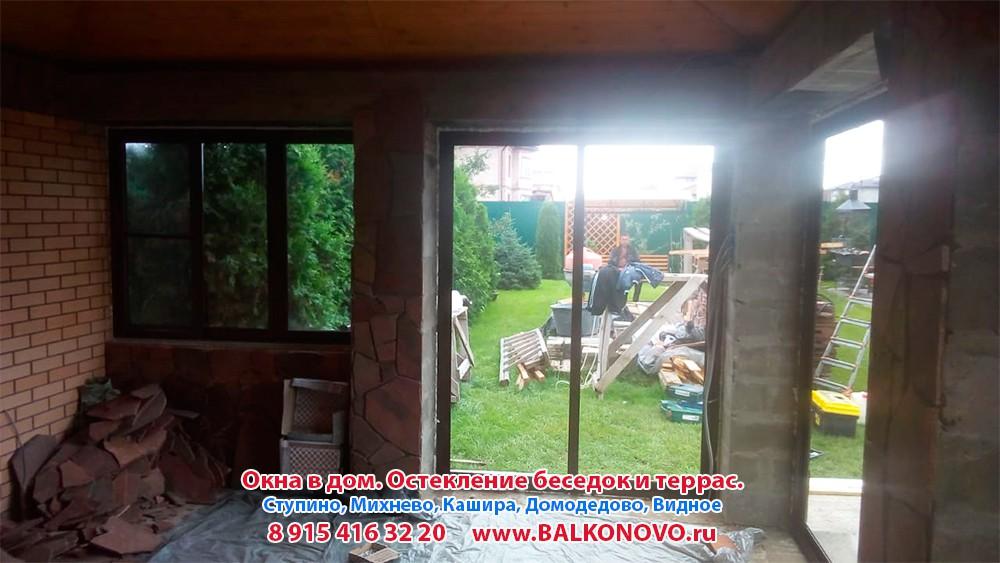 Остекление беседки алюминиевыми окнами в Домодедово