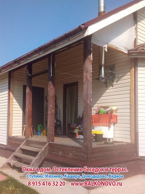 Остекление террасы алюминиевыми окнами в Дубнево (Ступино)