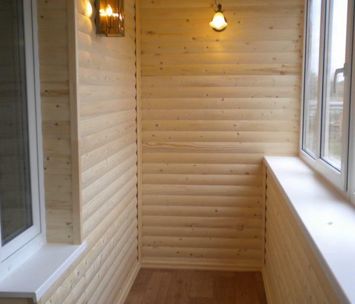 Отделка балкона внутри блок - хаусом