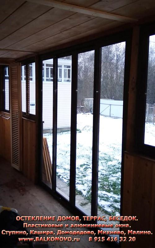Остекление террасы раздвижными окнами - Домодедовский район, СНТ Востряково
