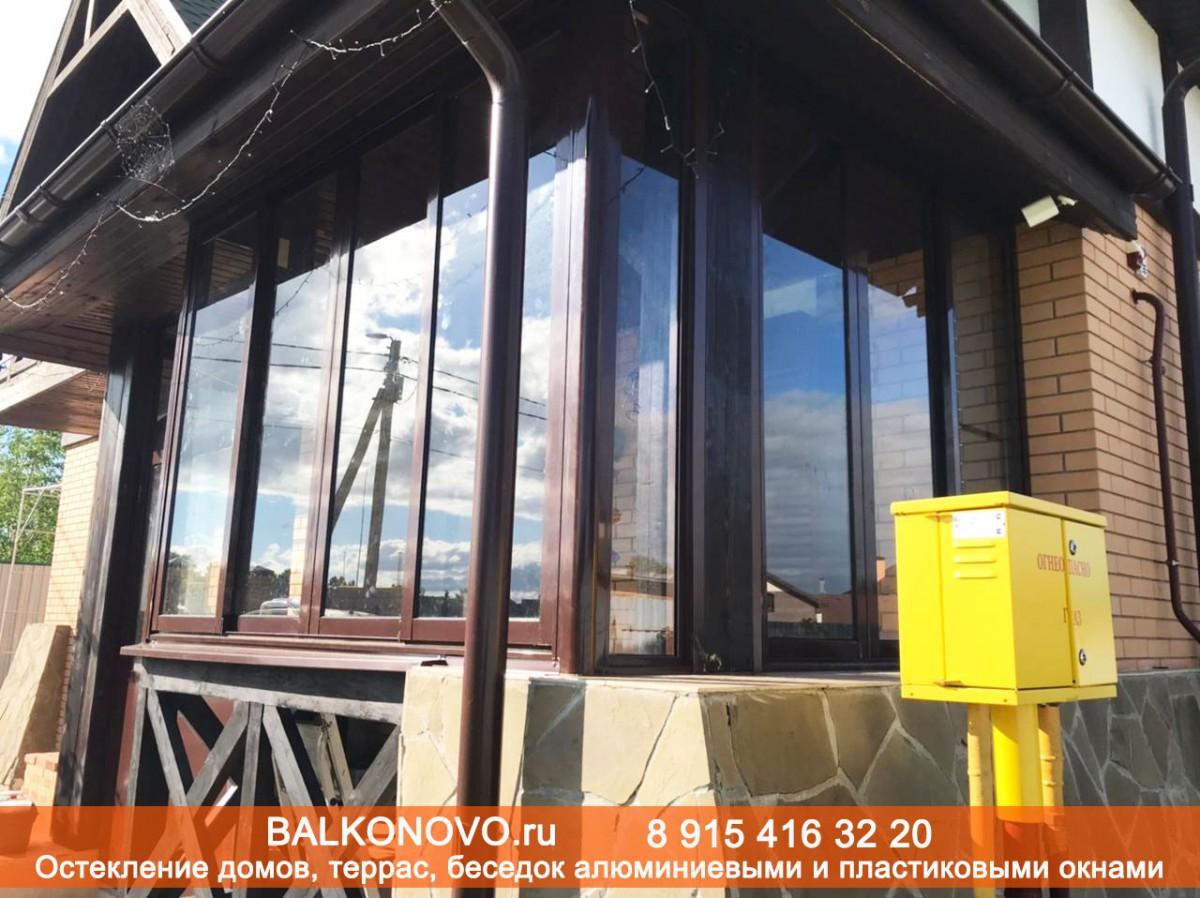 Терраса остекленная алюминиевыми раздвижными окнами